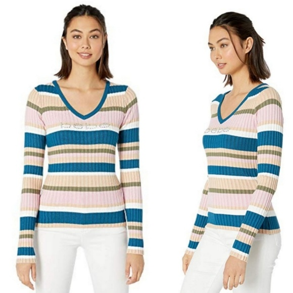 🆕️bebe Pink Nectar Stripe Ribbed Sweater